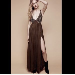 Free People Beaded Plunging V Maxi Dress Gown 6